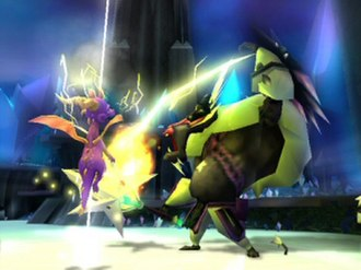 The Legend of Spyro: A New Beginning - An in-game screenshot for A New Beginning. Spyro is seen fighting an ape soldier with an electricity move.