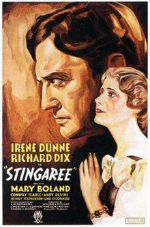 Irene Dunne and Richard Dix in the theatrical release poster for Stingaree