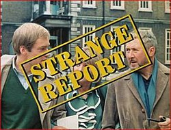 Strange Report title superimposed over the three main characters