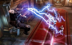 Star Wars: The Force Unleashed II - The protagonist, known as Starkiller, uses Force lightning on Stormtroopers.