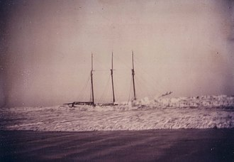 Joshua James (lifesaver) - The schooner Ulrica aground at Nantasket Beach December 16, 1896.