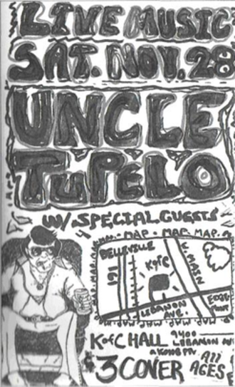 Uncle Tupelo - An early poster for an Uncle Tupelo show, in the style of Chuck Wagner's original drawing