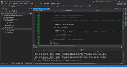 Screenshot of Visual Studio 2013, editing the source code of a C++ program