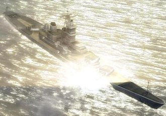 World in Conflict - The battleship USS ''Missouri'' aids the player's Battalion during the Battle for Pine Valley.