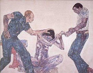 Leon Golub - 'Interrogation III', acrylic on linen painting by Leon Golub, 1981