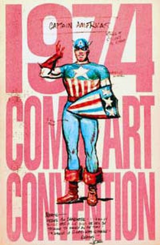 Captain America's shield - New York Comic Art Convention program with Joe Simon's original 1940 sketch of Captain America.