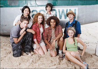 Flight 29 Down - The main cast of Flight 29 Down (from left to right): Johnny Pacar, Kristy Wu, Hallee Hirsh, Allen Alvarado, Corbin Bleu, Jeremy Kissner, and Lauren Storm.