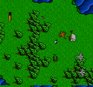 DragonStrike (video game) - Gameplay screenshot (NES top-down view).