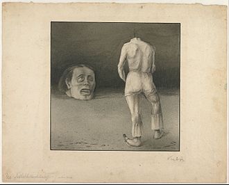 Self-reflection - Selbstbetrachtung by Alfred Kubin, about 1901