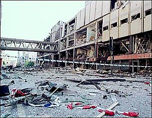 1996 Manchester bombing - Image: BBC picture Arndale centre after 1996 bomb
