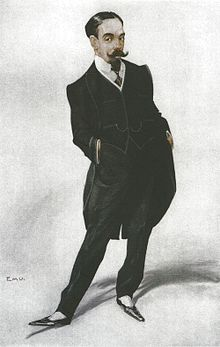 caricature of neatly bearded man in formal dress
