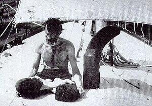 Bernard Moitessier - Bernard Moitessier on his boat Joshua in 1969, during the Sunday Times Golden Globe Race