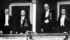 Mussolini and foreign minister Count Galeazzo Ciano meeting with British Prime Minister Neville Chamberlain and Viscount Halifax at the Rome Opera House in 1939.