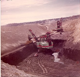 Colstrip, Montana -  Open pit strip mining with shovels at Colstrip's Rosebud Mine