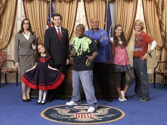 Cory in the House - The main cast of Cory in the House (from left to right), Lisa Arch (Samantha Samuels), Madison Pettis (Sophie Martinez), John D'Aquino (President Richard Martinez), Kyle Massey (Cory Baxter), Rondell Sheridan (Victor Baxter), Maiara Walsh (Meena Paroom) and Jason Dolley (Newt Livingston).