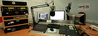 Demon FM - Producer console in the old Campus Centre studio
