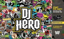 "A game cover, with the logo for ""DJ Hero"" in the center of a mosaic of numerous images and words (representing the various genres within the game), bordered by a grey boxes with text and pictures identifying the turntable controller and contents of the package."