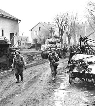 Battle of Metz - Men of the 378th Infantry, 95th Division enter Metz (17 November 1944).