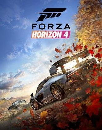 Forza Horizon 4 - Cover art depicting the game's seasonal change and featuring the McLaren Senna (foreground) and Land Rover Defender 90 (background)