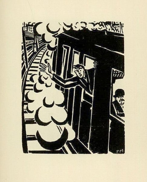 Frans Masereel (1919) Passionate Journey—arriving on the train