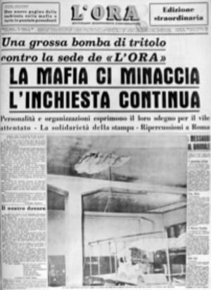 L'Ora - The frontpage of L'Ora after a Mafia bomb attack against the paper in 1958