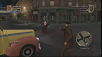 The Godfather (2006 video game) - Basic gameplay in The Godfather. The HUD shows the mini-map on the bottom right, Aldo's currently selected weapon and ammo on the bottom left, his health, experience bar and funds on the top left, and his currently targeted opponent's health and family affiliation on the top right.