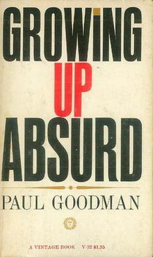 """""""GROWING UP ABSURD"""" in large, heavy, black, capital lettering and red/gold accents"""