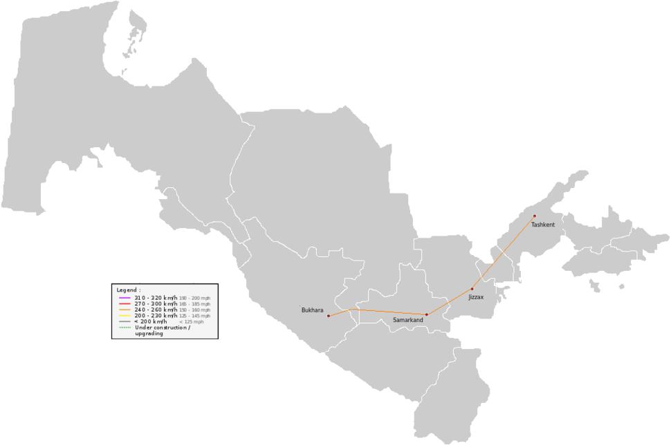 HSR Uzbekistan map
