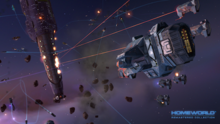 A group of enemy space ships attack the burning mothership with beam and missile weapons.