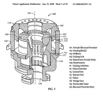 Blowout preventer - Patent Drawing of Hydril Annular BOP (with legend)