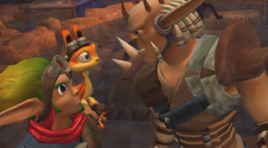 Jak (Jak and Daxter) - Jak and Daxter (left) speaking to Damas (right).