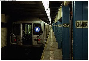 K (Eighth Avenue Local) - An R42 K train at Chambers Street