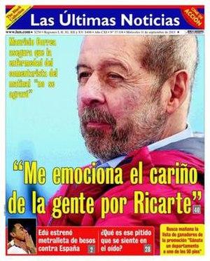 Las Últimas Noticias - Front page of the 11 September 2013 edition of Las Últimas Noticias