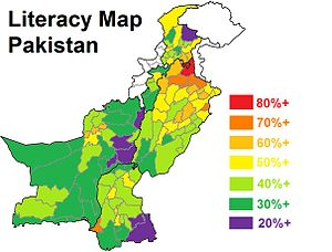 Literacy Map Pakistan, Source: