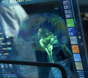 Fictional universe of Avatar - One of the futuristic computer screens, used for the AVATAR program, which employ 3D graphics and touchscreen interface.