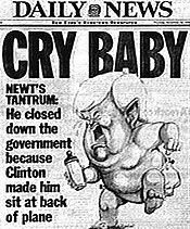 "Newt Gingrich as a ""Cry Baby"" on the cover of the New York Daily News."