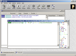 PIRCH98 running in Windows XP.