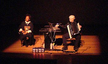 Oliveros (right) playing in Mexico City in 2006