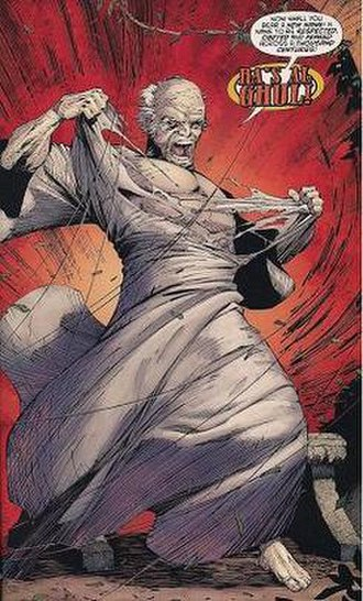 "Ra's al Ghul - Ra's al Ghul returns in the form of his own son Dusan al Ghul, Arabic: دوسان الغول, ""The White Ghost"".  Art by Ryan Benjamin."