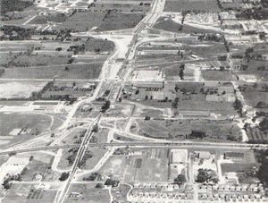 Ontario Highway 427 - An aerial view, facing north, of the reconstruction of Highway 27 to a four lane freeway during the early 1950s