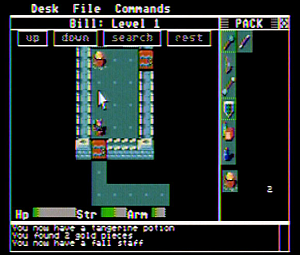 Rogue (video game) - A screenshot from the Atari ST version of Rogue, where the text-based characters have been replaced by graphics created by A.I. Design and Epyx