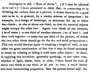 "Rule of thirds - Excerpt from John Thomas Smith's illustrated book, published in 1797, defining a compositional ""rule of thirds"""