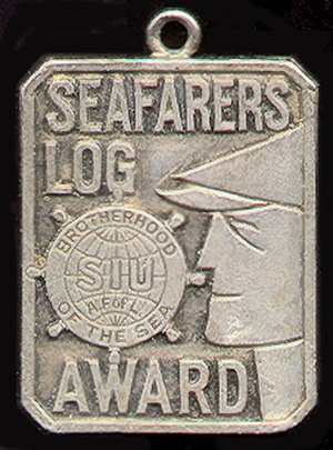 Seafarers International Union of North America - This watch bob references the Seafarers Log, SIU's official organ. The Log is published monthly by Seafarers International Union, Atlantic, Gulf, Lakes and Inland Waters District/NMU, AFL-CIO.