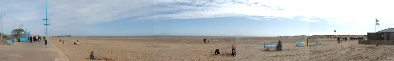 A panorama of the Skegness beach front