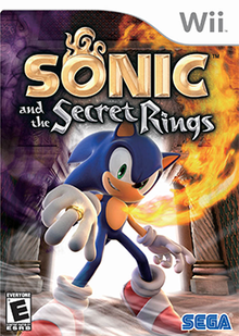 "A blue anthropomorphic hedgehog with spiky hair poses in the foreground, facing the camera and smiling mischievously. A shiny golden ring is on his right middle finger and a flame streams upward from his heart, from which he does not flinch. The background contains a temple with a door through which bright light is visible. A large part of the left side of the scene is obscured by purple fog, and wind graces the floor near the hedgehog's shoes. Near the top of the image, the text ""Sonic and the Secret Rings"" appears in stylized, metallic form, the first word colored gold and the rest of them silver."