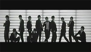 "Sorry, Sorry (Super Junior song) - Super Junior posing right before the first dance break in the beginning of ""Sorry, Sorry""."