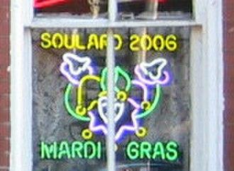 Soulard, St. Louis - A neon sign commemorating Soulard Mardi Gras 2006