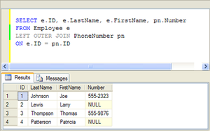 Example SQL outer join query with Null placeho...