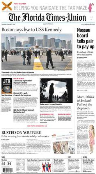 The Florida Times-Union - The 5 March 2007 front page of The Florida Times-Union