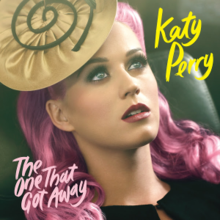 "A purple hair woman named ""Katy Perry"" looking at the sky with disc-shapped hat"